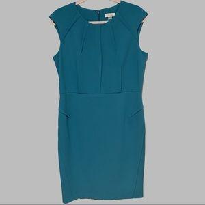 Calvin Klein Teal Schba Crepe Sheath Dress